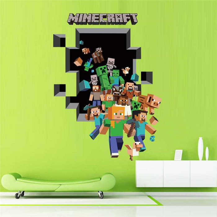 Newest Minecraft Wall Stickers Wallpaper Kids Room Decal Minecraft Home Decoration(China (Mainland))