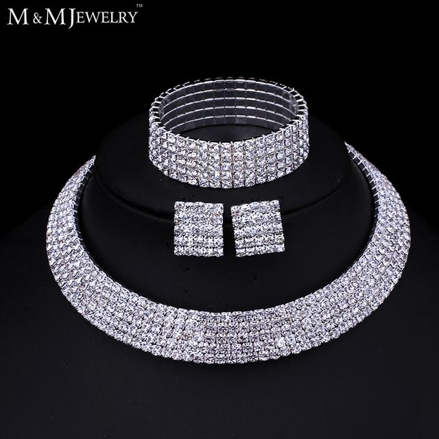 Чешский Rhiestone посеребренная классический пять ряд ожерелье серьги браслеты свадебные ...