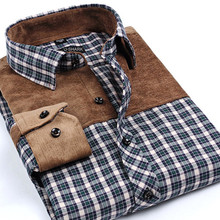 Buy Spring Autumn new men's fashion cotton plaid shirt middle-aged checkered patchwork long-sleeved shirts male large size S-4XL for $13.44 in AliExpress store
