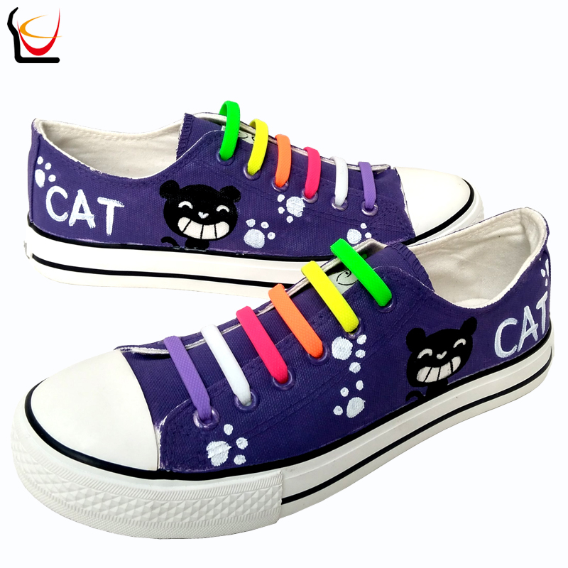 LUC Men Women New Arrival Canvas Outdoor Shoes Cat Despicable Me Minions Style Purple Hand-painted Lazy Shoelace Gift Footwear(China (Mainland))
