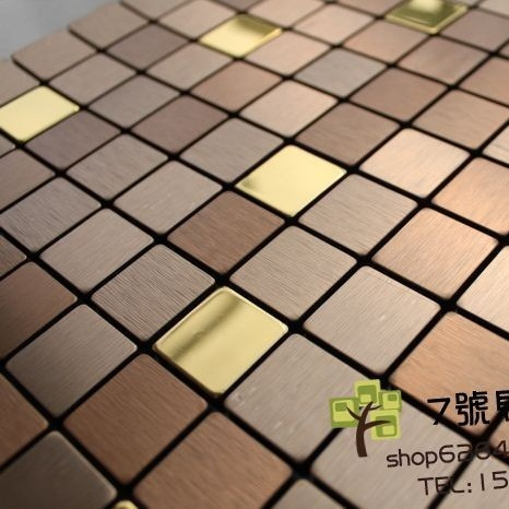 FREE SHIPPING!! Good quality Bronze brush gold mosaic tile self-adhesive metal wall mosaic aluminum building material home decor(China (Mainland))