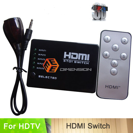5 port Remote control switch hdmi video switcher for HD 1080P 5 in 1 out(China (Mainland))