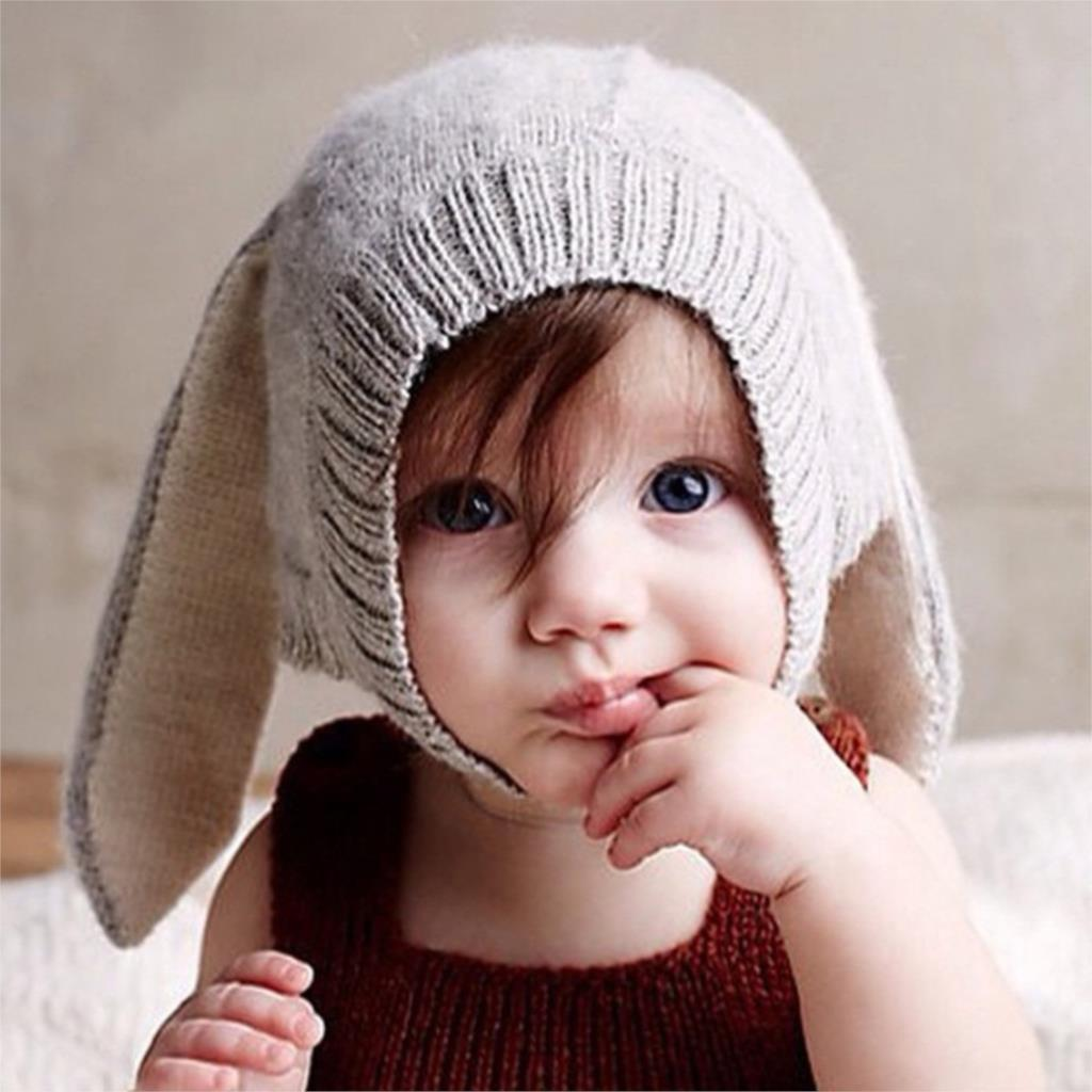 Baby Rabbit Ears Knitted Hat Infant Toddler Winter Cap For Children 0-5 Years Girl Boy Accessories Photography Props(China (Mainland))