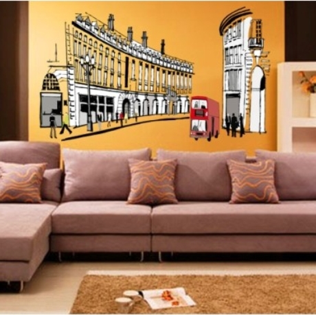 The new creative bedroom living room TV wall background wall stickers retro Deco building green streets of Rome [](China (Mainland))
