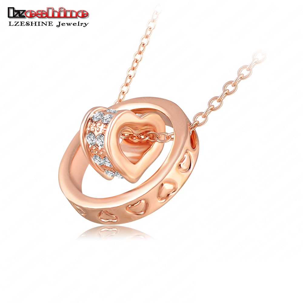 Гаджет  Double Necklaces & Pendants 18K Rose Gold/Platinum Plated Austrian Crystal Circle Heart Necklace Mix Colors Options LN-NL0019 None Ювелирные изделия и часы