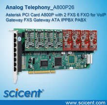 Asterisk PCI Card A800P with 2 FXS 6 FXO for VoIP Gateway FXS Gateway ATA IPPBX PABX Scicent OpenVox Digium A800P26