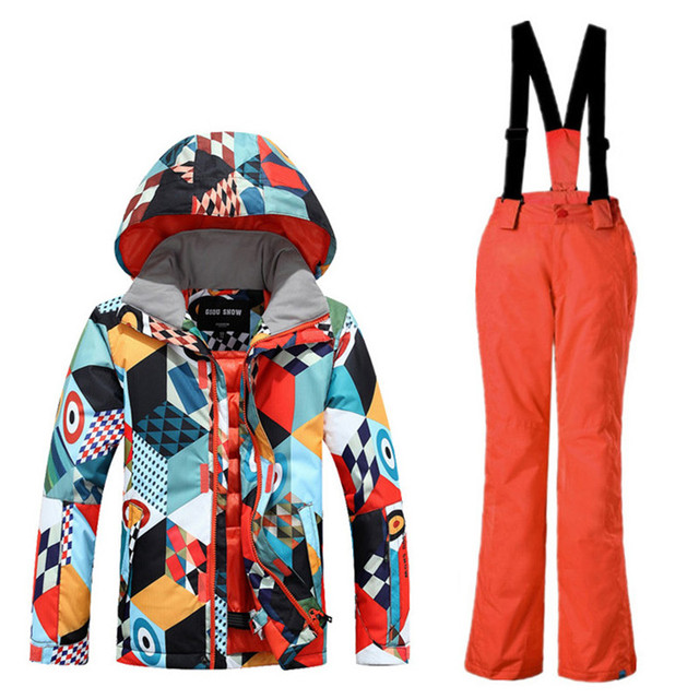 Новый Стиль Мальчиков Gsou Снег Лыжная Куртка Брюки Ветрозащитный Водонепроницаемый Супер Теплый Лыжи Сноуборд Костюм Комплект Дышащий Детская Одежда