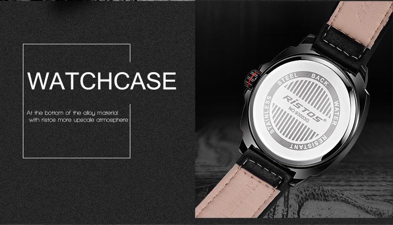Ristos 2016 New Luxury Brand Fashion Sport Quartz Watch Men Business Watch Russia Army Military Corium Leather Strap Wristwatch
