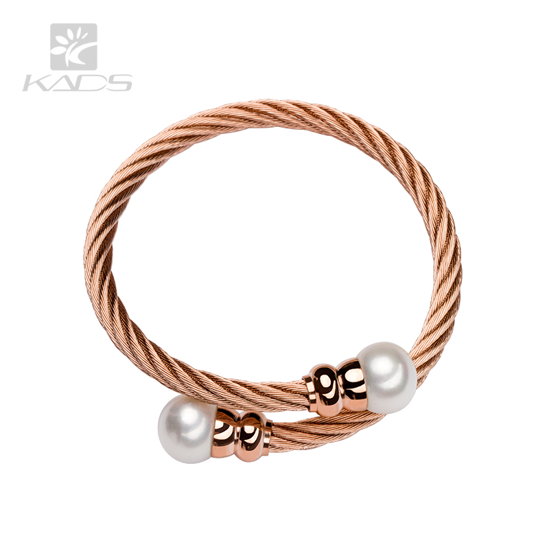 KADS AAA pearl size:11.5-12mm Double freshwater Pearl Bangles Women Gold Plated Round Beads Bracelet Female Gift Cuff pearl(China (Mainland))
