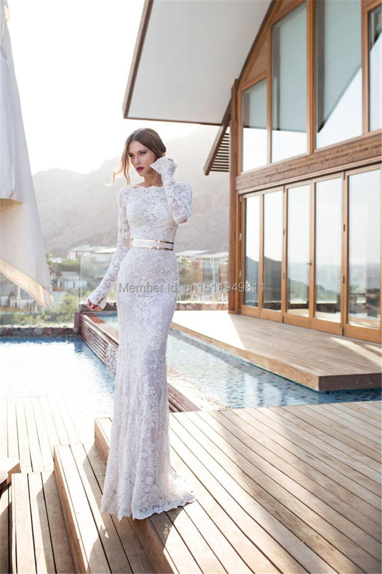 Sexy sheath long sleeves covered floor length lace simple for Sheath style wedding dress