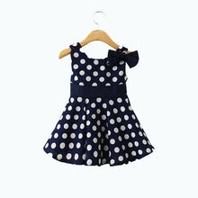 2016 Summer New Girl Dress Bowknot Polka Dot Sundress Princess Dresses Navy Blue Sleeveless Vest Children's Girl's Clothing