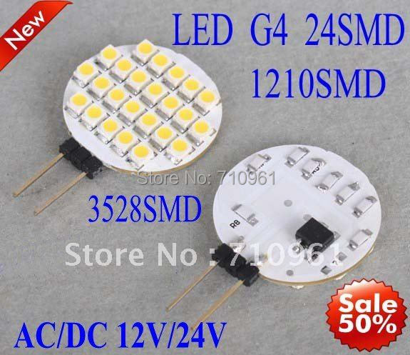 Free shipping best price good quality Wholesale Car LED Light Interior Bulbs G4 24 SMD 3528 12V Warm White and White(China (Mainland))