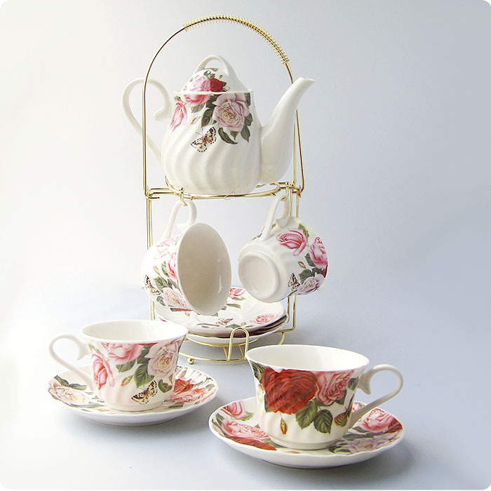 9 afternoon tea coffee set butterflies 9 tea coffee cup holder 1 pot 4 cup and