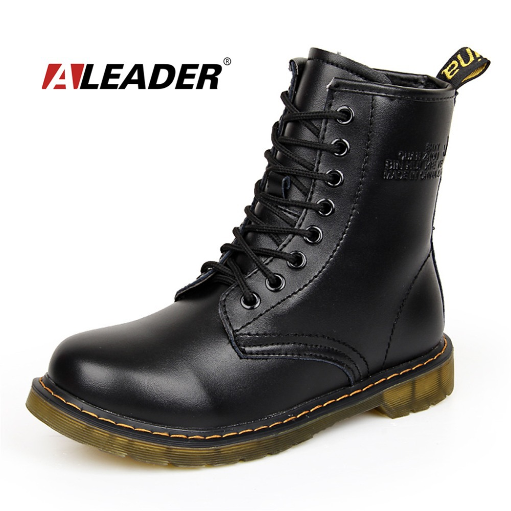 Womens Autumn Leather Ankle Motorcycle Boots New 2016 ...