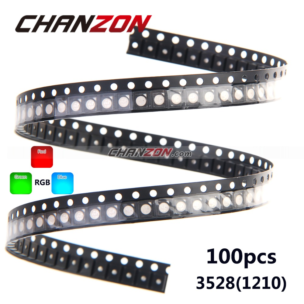 100pcs SMD3528 3528 RGB LED Common Anode SMT Chip Tricolor (Red Green Blue) 1210 Surface Mount Light Emitting Diode Lamp(China (Mainland))