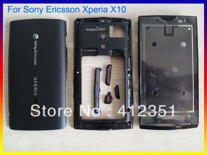 Black Original Full Housing cover case + buttons FOR Sony Ericsson Xperia X10 Free Shipping(China (Mainland))