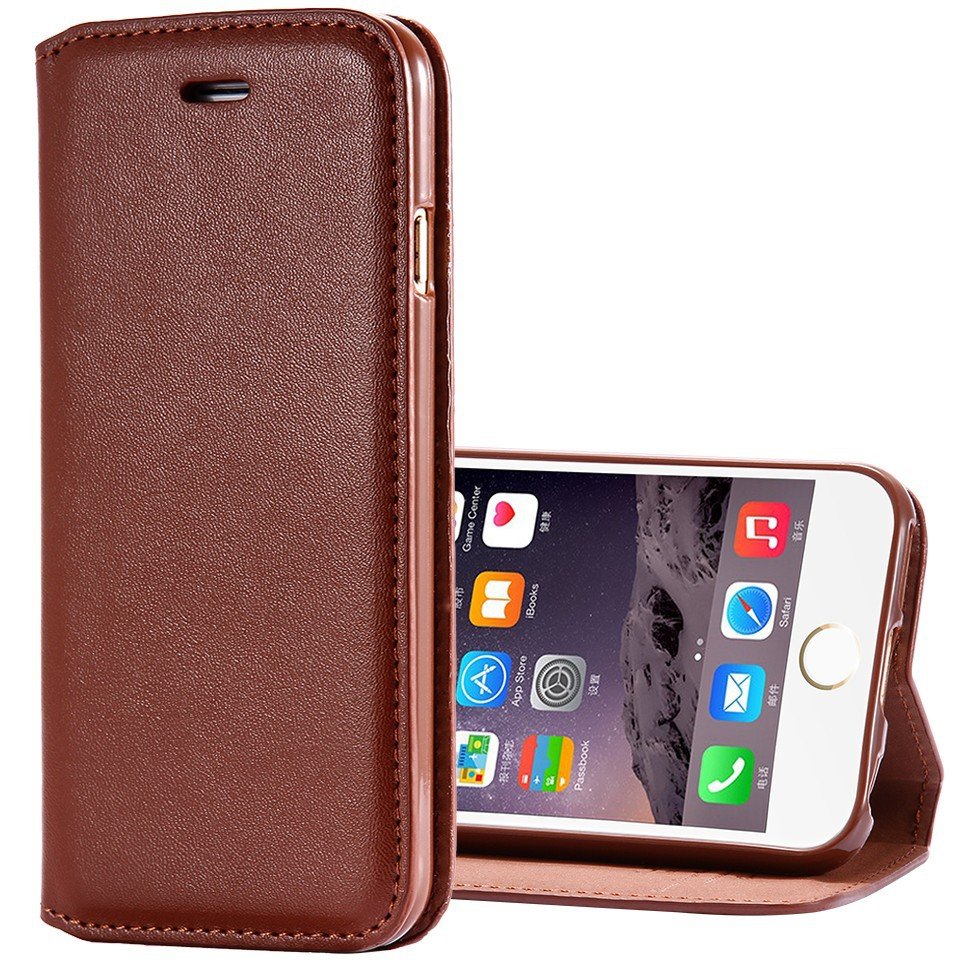 Luxury Business Style Plain Skin PU Leather Magnetic Flip Case For Apple iPhone 6 4.7 inch Wallet Holster Cover Bag Brown White(China (Mainland))
