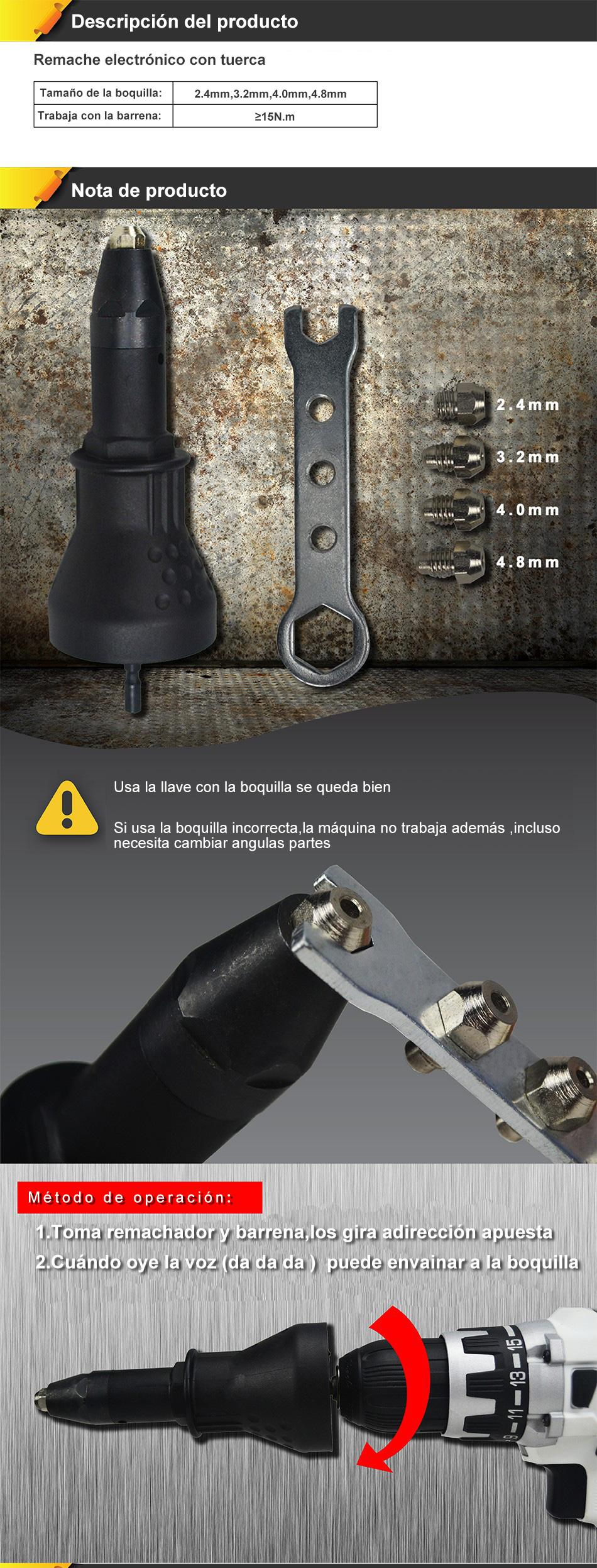 DEKO Electric Rivet Nut Gun Riveting Tool Cordless Riveting Drill Adaptor Insert Nut Tool