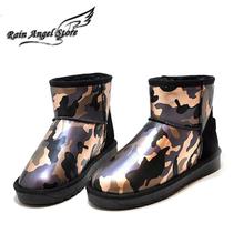 Damas Botas De Invierno 2015 Nuevo Camuflaje Moda Cálida Botas Bajas Botas de Nieve A Prueba de agua Zapatos de Colores Mezclados Size35-39(China (Mainland))