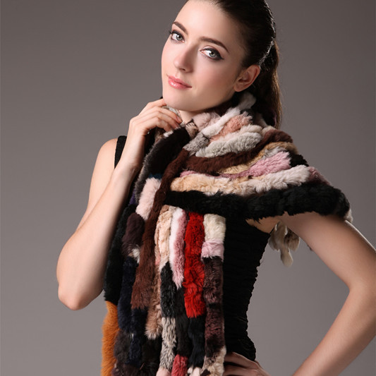 women's autumn and winter scarf women's fur scarf rex rabbit hair scarf multicolour rabbit fur scarf(China (Mainland))