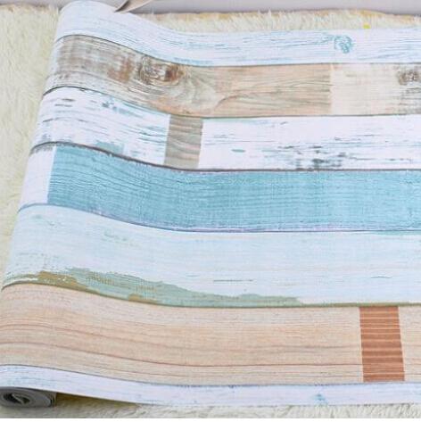 papel de parede. Designer realistic wood panel stripes vintage wallpaper Embossed effect feature bedroom Children room home deco(China (Mainland))