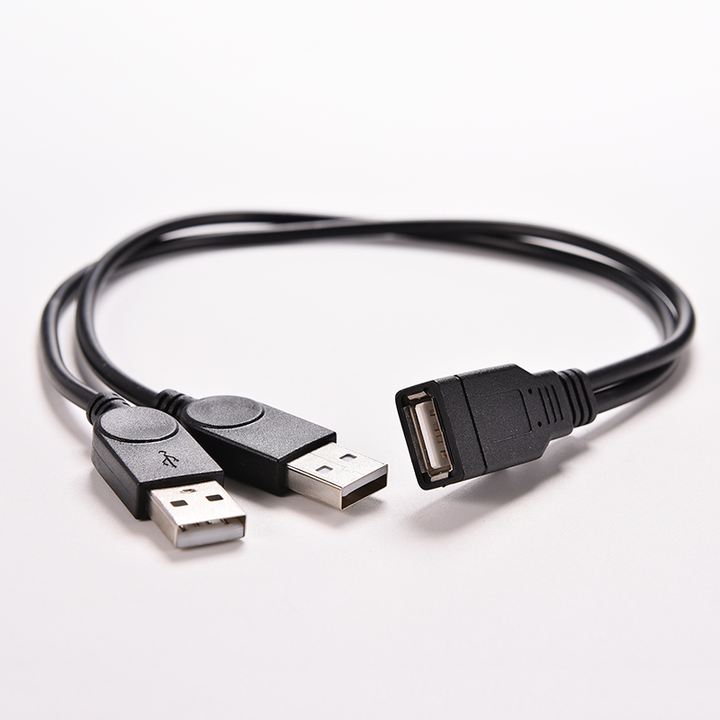 1PC USB 2.0 A 1 Female to 2 Dual USB Male Data Hub Power Adapter Y Splitter USB Charging Power Cable Cord Extension Cable 39CM(China (Mainland))