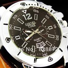 Envío gratis! 1 unid único caliente de moda estilo de Brown del diseño artificiales hombres del cuero del reloj de cuarzo regalo perfecto, D5-BN