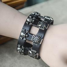 Skull cross  Leather          one direction charm secret bracelets men for women bangles   steampunk rock vintage fine jewelry