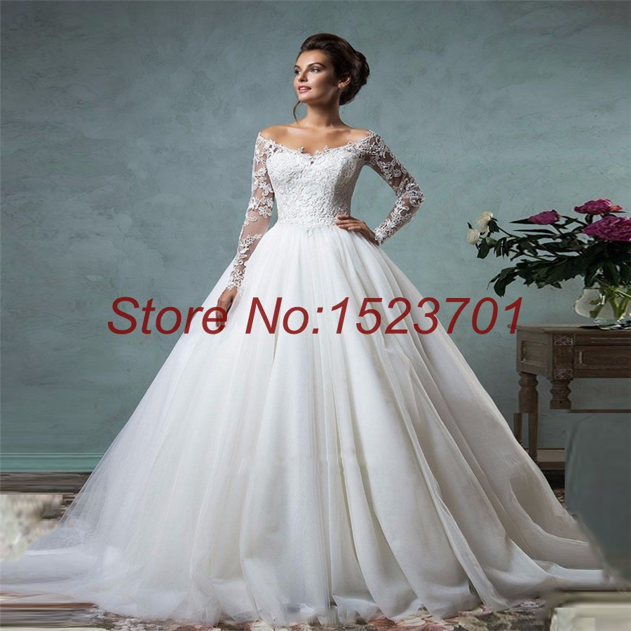 New arrival v neck wedding dress with sleeves appliques for Wedding dress images free