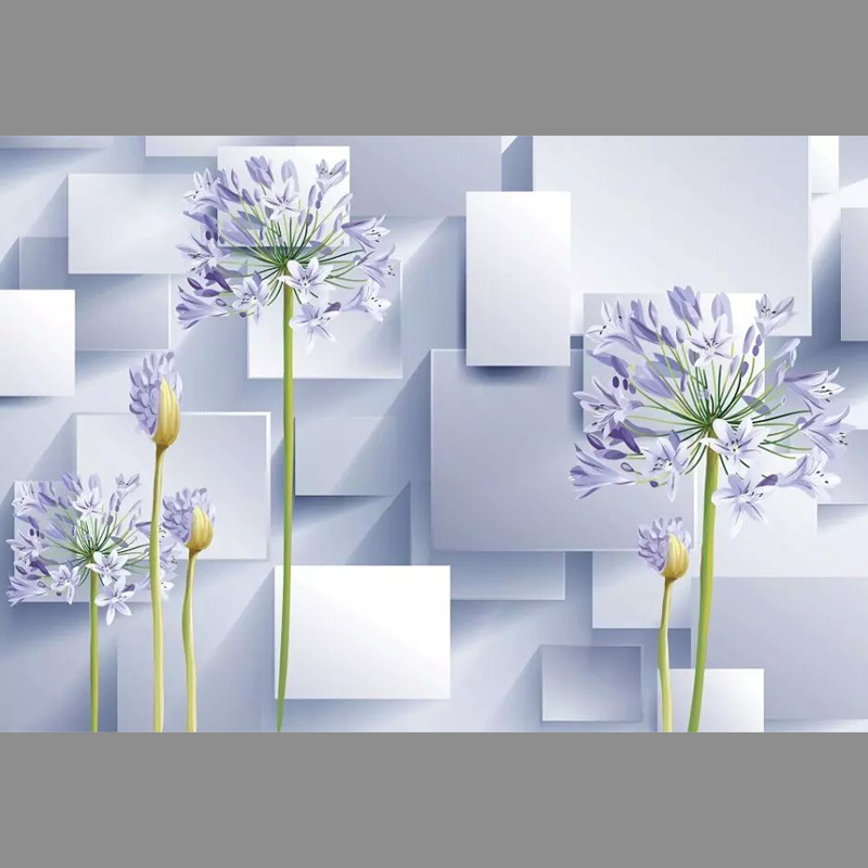 Florals and cubes Unseamed silk cloth Custom photo wallpapers 3D wall papers backdrop mural wallpapers background
