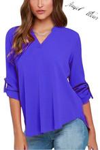2016 Fashion Women Chiffon Blouse Tops Sexy V-neck three Quarter Sleeve Loose Shirts Casual Office Work Wear 5XL Plus NBL0004