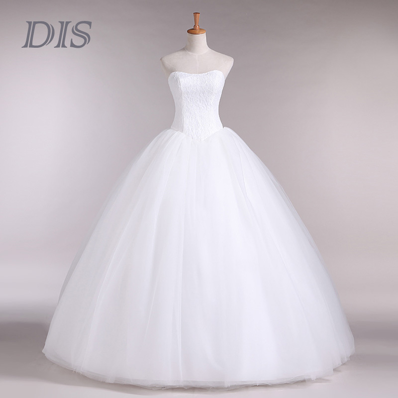 DIS Hot Sale 2015 Cheap Wedding dress Real Sample Fashion strapless Tulle lace Ball Gown Wedding dresses Bridal Dress(China (Mainland))
