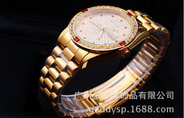 HK Crown Марка 50 М Водонепроницаемый Хорошее Качество Роскошный Золотой Человек Кварцевые Наручные Часы Дата Кристалл Подарочные Платье Кварцевые Бизнес Часы