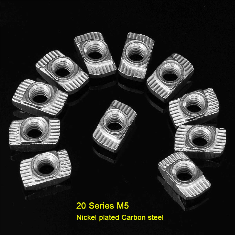 Newest 100pcs/lot M5 Hammer Nut Aluminum Connector T Fastener Sliding Nut Nickel Plated Carbon Steel for 2020 Aluminum Profile(China (Mainland))