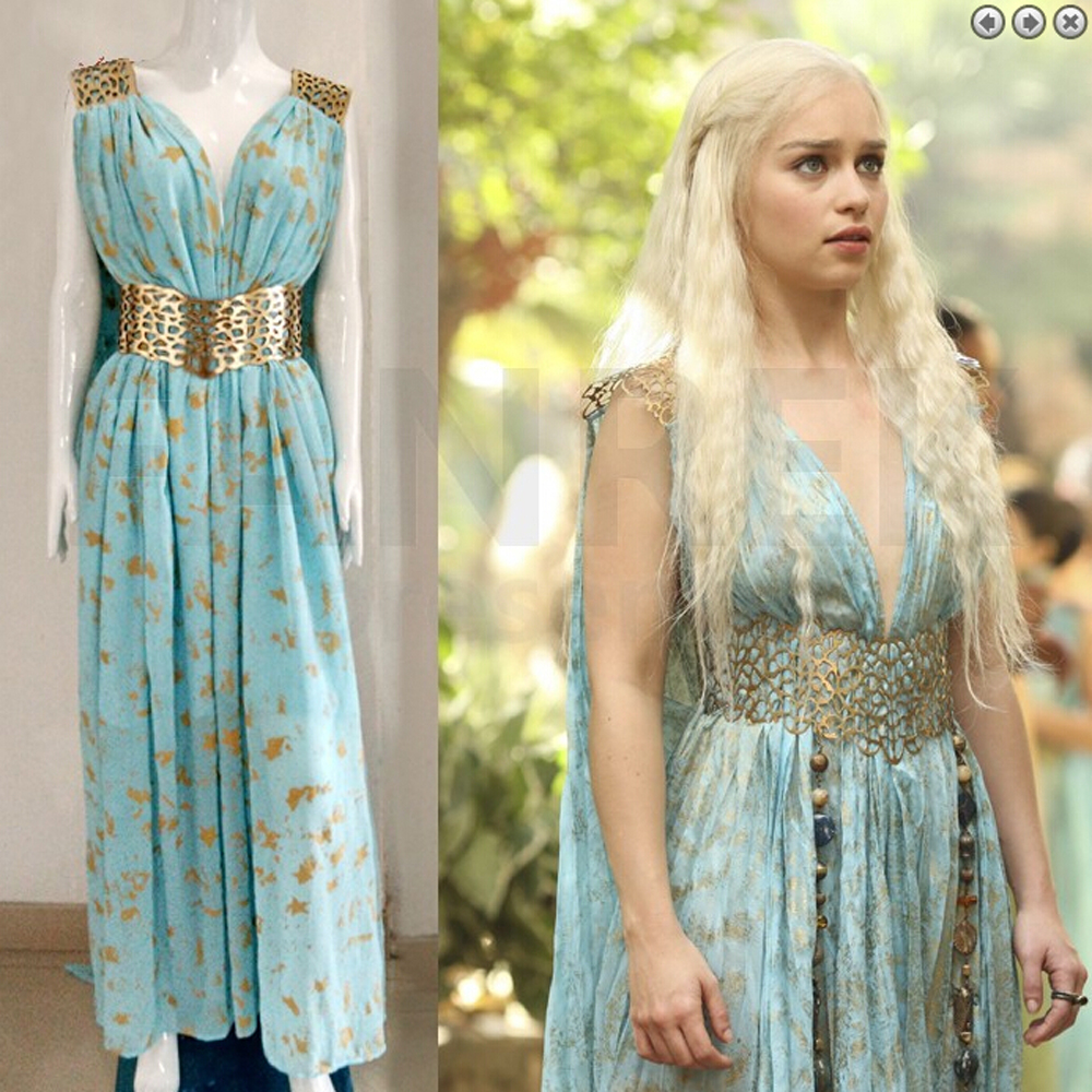 linglong high quality custom made game of thrones cosplay daenerys targaryen qarth dress costumes adult women - High Quality Womens Halloween Costumes