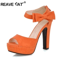 New summer Peep toe Ankle strap orange Sweet high heel Sandals Platform Lady shoes Bowtie 4 Colors Spike heels Bowtie Buckle(China (Mainland))
