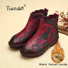 Tastabo Halk Tarzı Martin Çizmeler Hakiki Deri Ayak Bileği Ayakkabı Eski Anne Kadın Ayakkabı Retro El Yapımı Çizmeler Kadınlar Için(China)