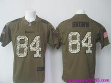 2016 Men Pittsburgh Steelers #84 Antonio Brown Elite embroideried Logo, #26 LeVeon Bell Green Salute To Service Limited(China (Mainland))