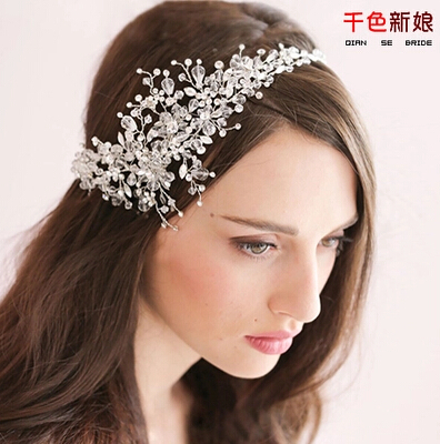 !Luxury Korea Style Beaded Flower Bride Hair Accessory Crown Tiara Wedding Party Jewelry Bridal Accessories QHG117 - ELEVEN JEWELRY store