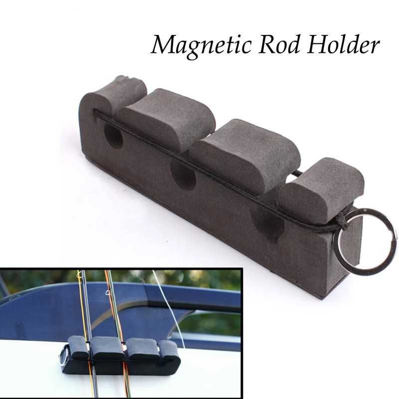 Portable gray soft foma fly fishing rod magnetic holder for Fishing pole holder for car