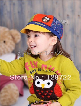 Spring Autumn Summer Baby Cap Owl Style Kids Hat Peaked Cap / Baseball Cap child cotton hat owl embroidered baseball cap 3 color