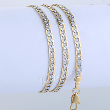 4MM 18K Gold Filled Curb Cuban Necklace 19.6inch Classic Silver & Gold Tone Chain Mens Womens Jewelry   GN64