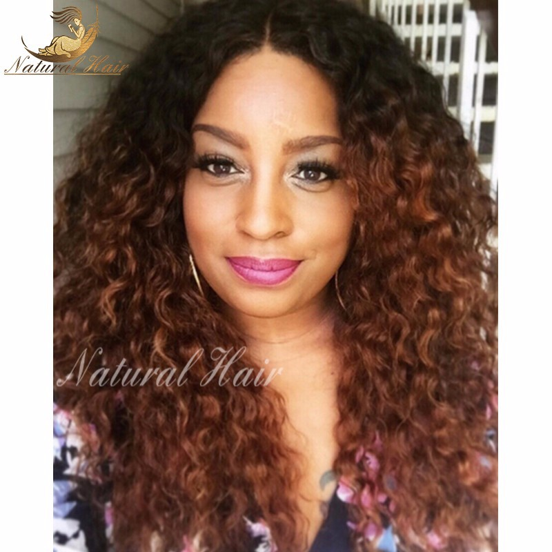180% density malaysian curly wigs human hair ombre lace front wig gluless malaysian curly virgin hair lace wig with baby hair