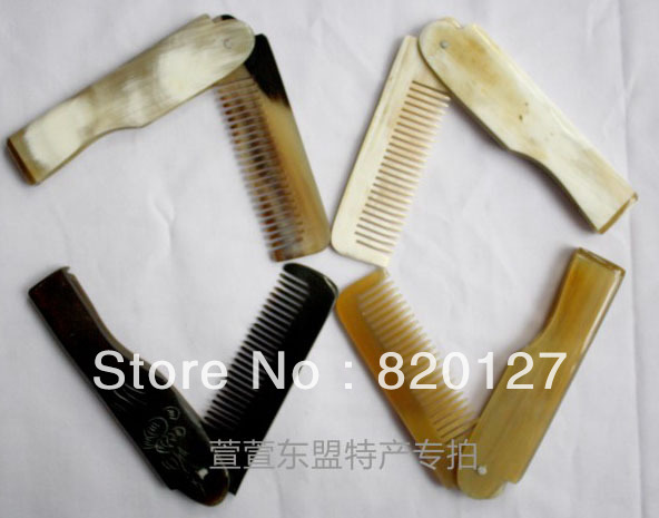 "6.4""Hand Made Mini Folding Pocket Hair Tibetan Yak Horn (ox horn) Comb(China (Mainland))"