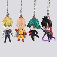 Anime One Punch Man Saitama Tatsumaki Genos PVC Action Figure Key Chains Key Rings Pendants Toys 4.5-5cm KT2266(China (Mainland))