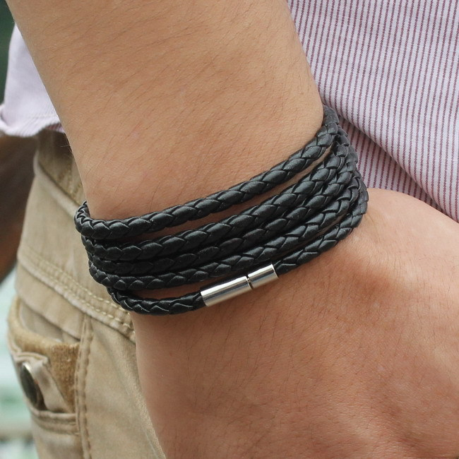 Free Shipping New 2015 Mens Punk Leather Bracelet Handmade Multilayer Rope Bracelets Bangles Men Jewelry Accessories