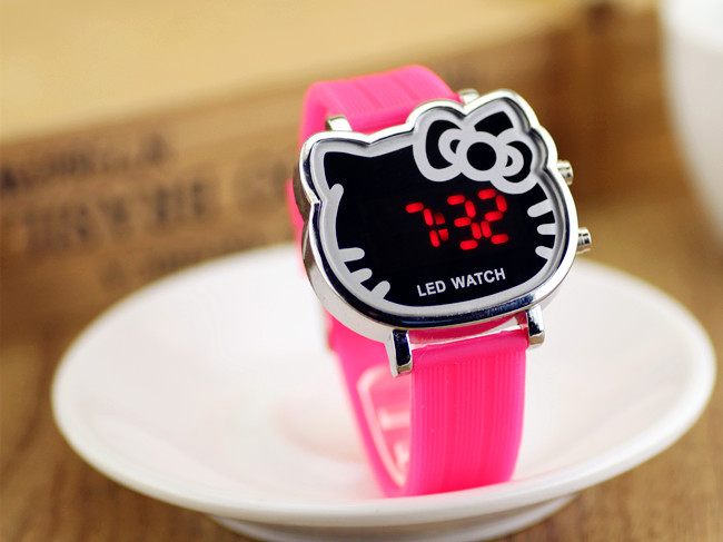 Hot Sell Children Casual LED Watch Fashion Hello Kitty Multi-Color Silicone Digital Watches for kids Bracelet Wristwatches(China (Mainland))