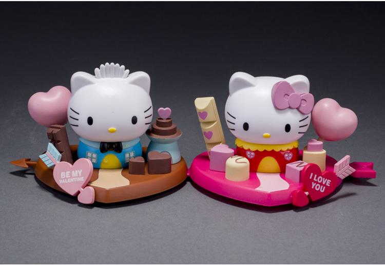 Free shipping Hongkong 7-11 sanrio love Cupid KT cat model 2pcs/set Doll ornaments Valentine Gift Car decoration toy(China (Mainland))