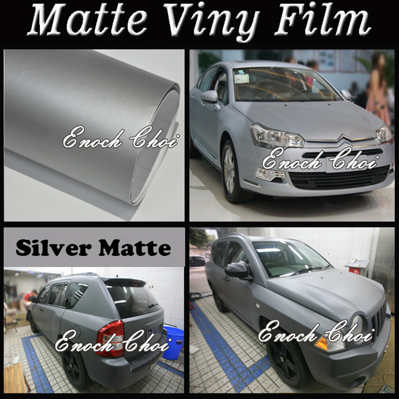 1.52x30M Free Shipping Air Bubble Free Matt Color PVC Vinyl Film For Car Wrapping/matte car wrap vinyl matt silver sticker vinyl(China (Mainland))