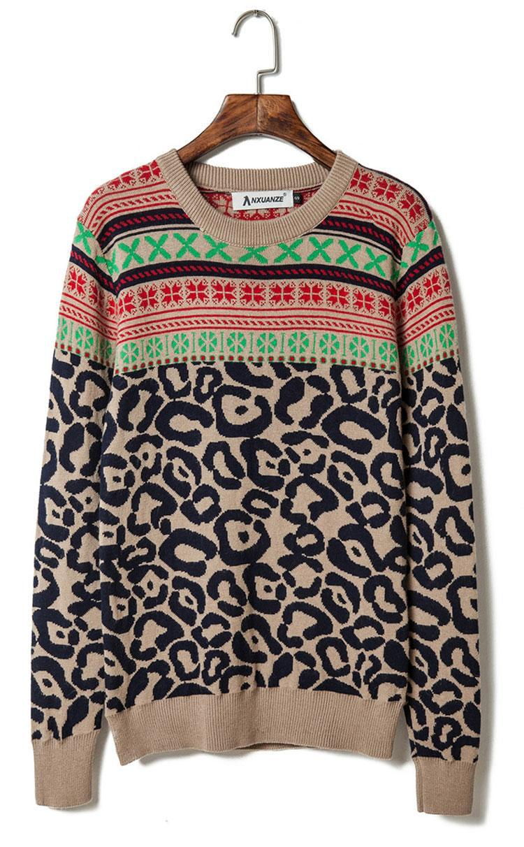 2015 new men's clothing men's sweater national wind men Christmas sweaters casual fashion retro leopard thickening pullover men(China (Mainland))